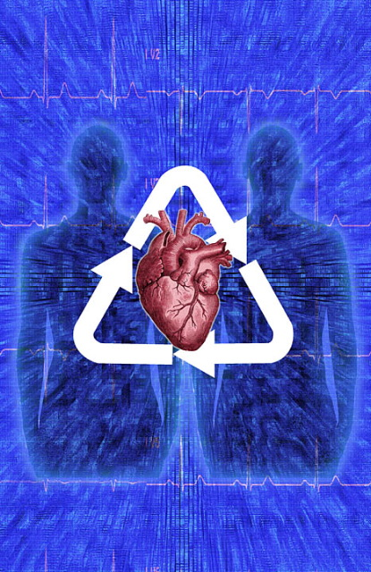 Photo illustrating organ donation using a recycle symbol
