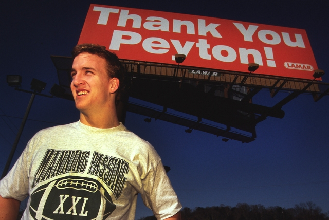 PEYTON MANNING AFTER ANNOUNCING HE WILL STAY FOR LAST YEAR AT TENNESSEE