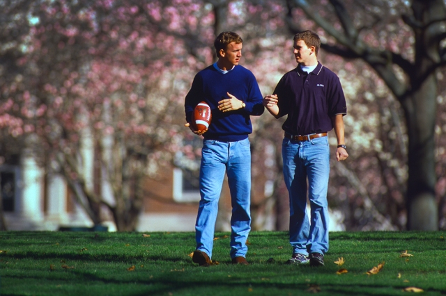 Peyton and Eil Manning in the Grove at Ole Miss