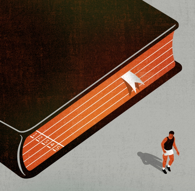 "What's so terrible about giving up on a book"" for the Guardian. Illustration by Francesco Bongiorni"