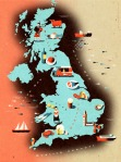 UK food map with icons of regional specialties for an article on the top 50 UK restaurants / CLient: Square Meal magazine