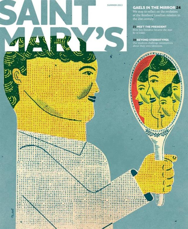Cover Illustration for St. Mary's Magazine by David Plunkert; Design Firm Pentagram Texas