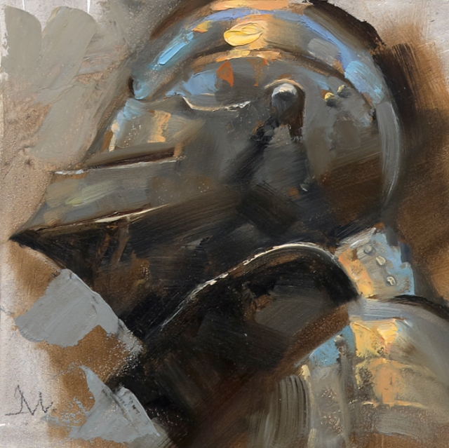 """Knight/Profile Yellow - Helmets"", Gallery Series; Art Directed and Illustrated by Gregory Manchess"