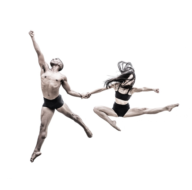 Ballet dancers in flight