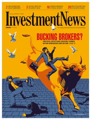 "©Ivan Canu - ""Bucking Brokers?"" Cover - Client: Investment News"