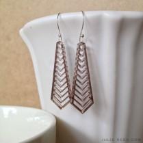 """©Julie Reed - """"Herringbone Acrylic Bronze"""" Earrings"""