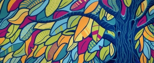 "©Judith Mayer - ""Tree of Life"" - Mural 18 x 9ft"