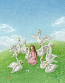 """©Stefano Morri - """"Wild Swans"""" - by Hans Christian Andersen - Printed in China"""